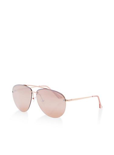 Metallic Accent Aviator Sunglasses,ROSE/PINK,large