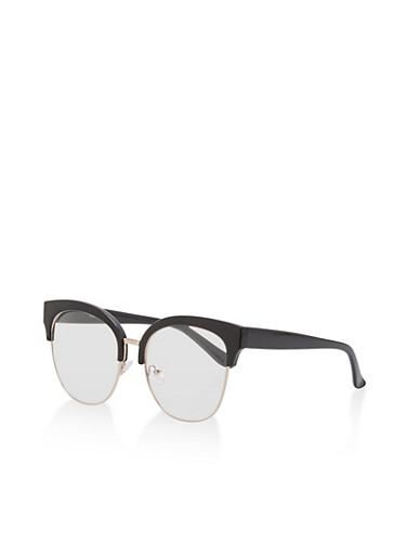 Browline Cat Eye Glasses,BLACK,large