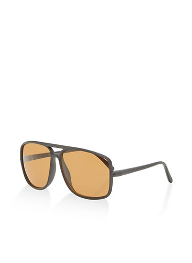Matte Frame Aviator Sunglasses,BLACK,large