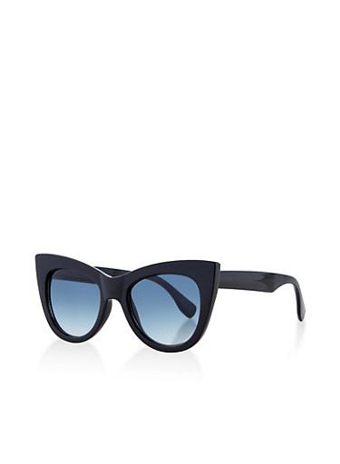 Thick Frame Cat Eye Plastic Sunglasses,BLACK,large