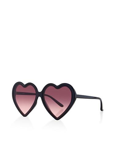 Heart Frame Sunglasses,BLACK,large