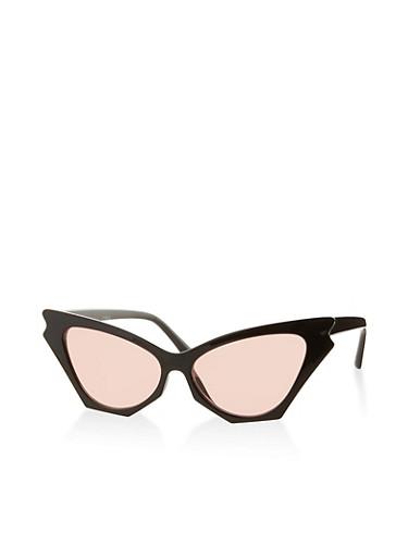 Colored Lens Cat Eye Sunglasses,BLACK,large