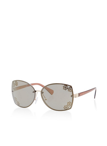 Metallic Floral Rimless Sunglasses,BROWN/GOLD,large