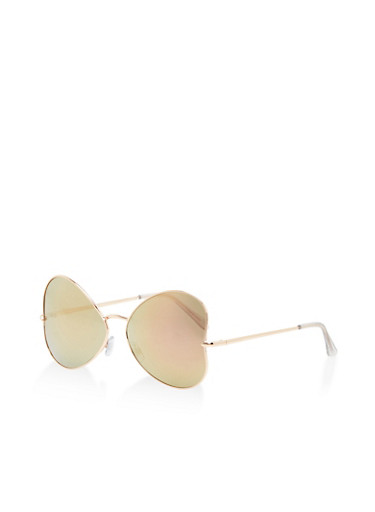 Side Heart Mirrored Sunglasses,ROSE,large