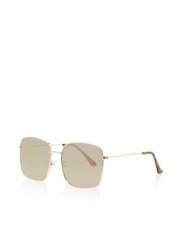 Mirrored Square Sunglasses,ROSE,large