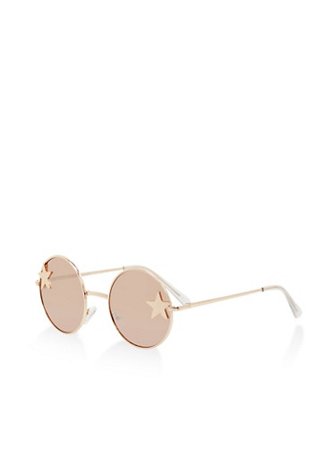 Star Detail Round Sunglasses,ROSE,large
