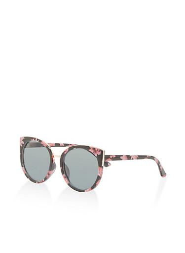 Floral Cat Eye Sunglasses,BLACK,large