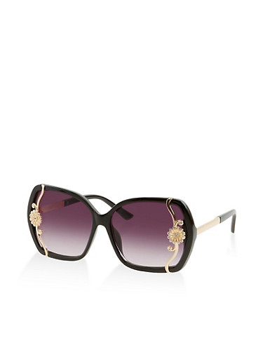 Metallic Flower Detail Square Sunglasses,BLACK,large