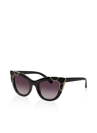 Metallic Stone Accent Cat Eye Sunglasses,BLACK,large