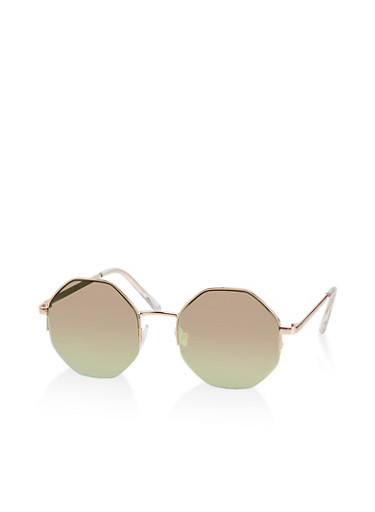 Half Rim Geometric Sunglasses,ROSE,large