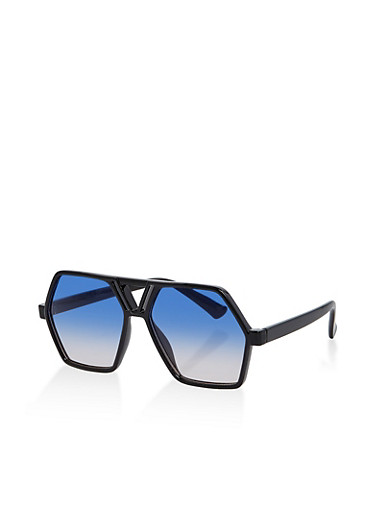 Geometric Sunglasses,BLACK,large