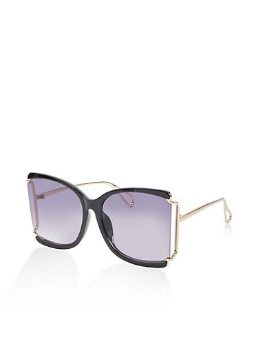 Metallic Detail Open Side Sunglasses,BLACK,large