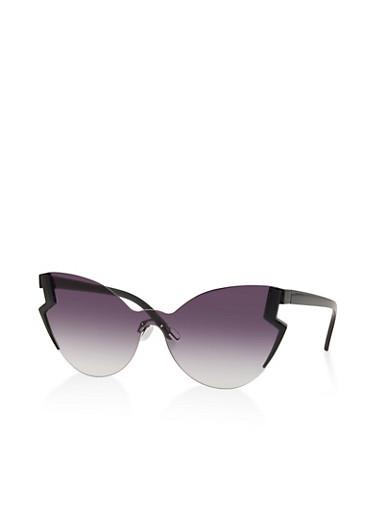 Lightning Bolt Rimless Sunglasses,GRAY,large