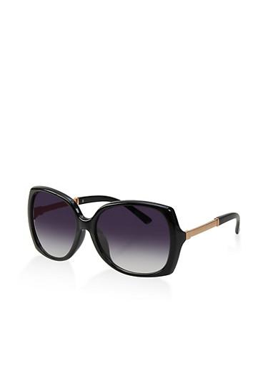 Square Metallic Arm Detail Sunglasses,BLACK,large