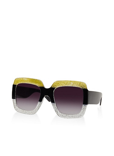Large Glitter Square Plastic Sunglasses,BLACK,large