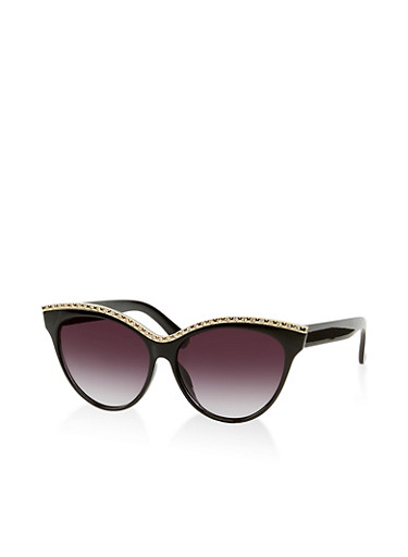 Rhinestone Top Bar Sunglasses,BLACK,large