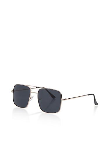 Colored Square Aviator Sunglasses,GRAY,large