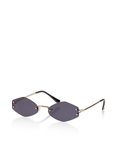 Skinny Rimless Geometric Sunglasses,GRAY,large