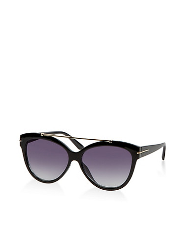 Metallic Top Bar Plastic Sunglasses,BLACK,large