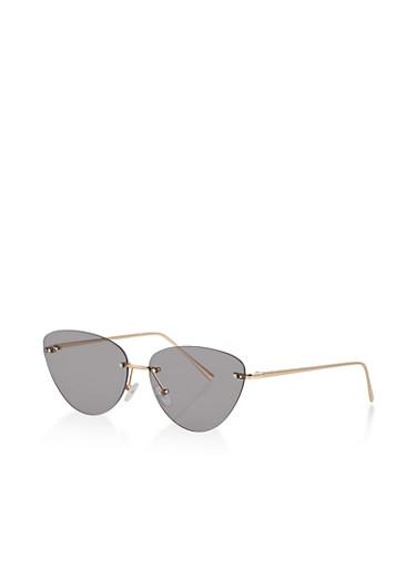 Rimless Cat Eye Sunglasses | 1134073212900,GRAY,large