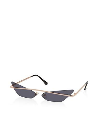 Skinny Top Bar Colored Cat Eye Sunglasses,GRAY,large