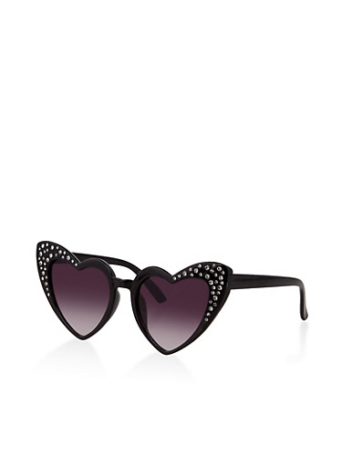 Rhinestone Heart Frame Sunglasses,BLACK,large