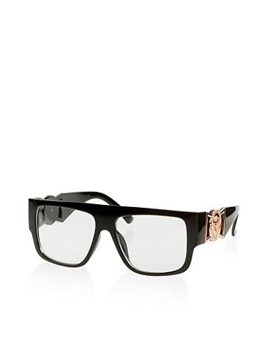 Medallion Arm Plastic Glasses,BLACK,large