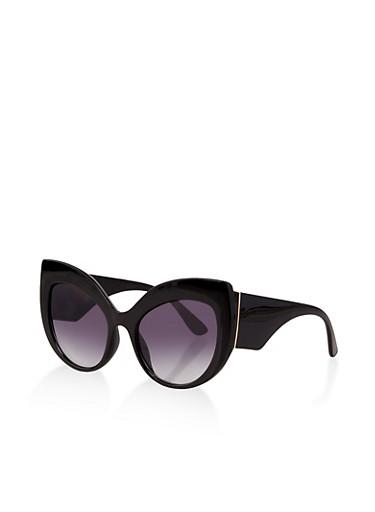 Exaggerated Cat Eye Sunglasses,BLACK,large