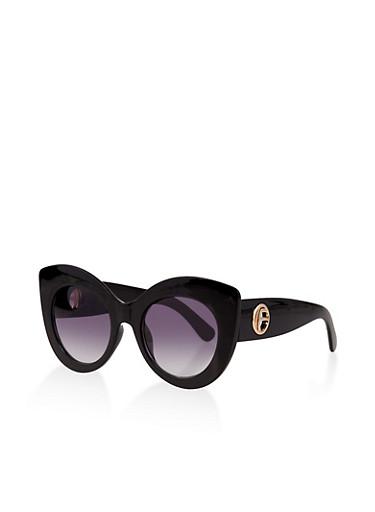 Thick Frame Cat Eye Sunglasses | 1134073213500,BLACK,large