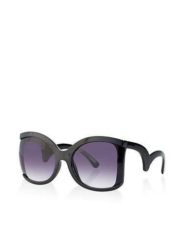 Oversized Geometric Arm Sunglasses,BLACK,large