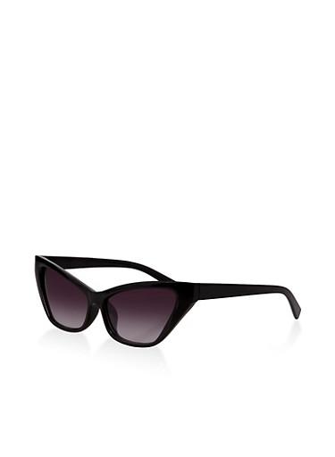 Skinny Plastic Cat Eye Sunglasses,BLACK,large