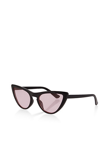 Colored Lens Cat Eye Sunglasses | 1134073214300,BLACK,large