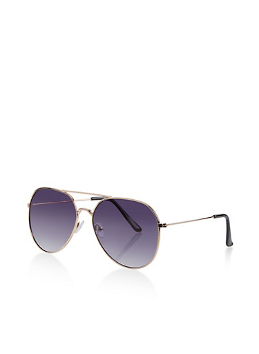 Colored Metallic Aviator Sunglasses,GRAY,large