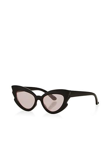 Plastic Mirrored Cat Eye Sunglasses,BLACK,large