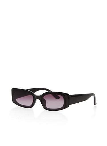 Skinny Plastic Frame Sunglasses,BLACK,large