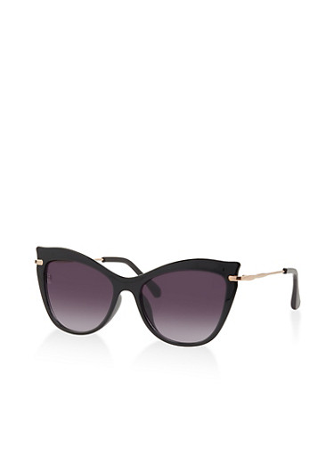 Plastic Cat Eye Sunglasses | 1134073214550,BLACK,large