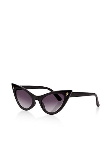 Lightening Bolt Cat Eye Sunglasses,BLACK,large