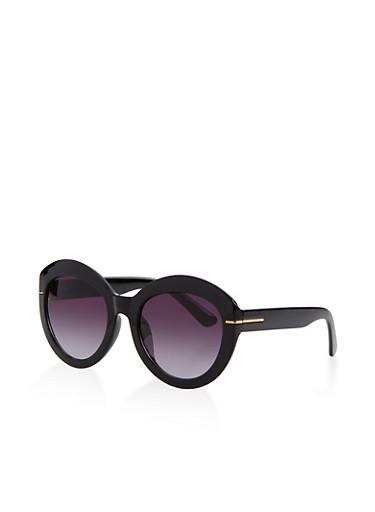 Plastic Round Sunglasses,BLACK,large
