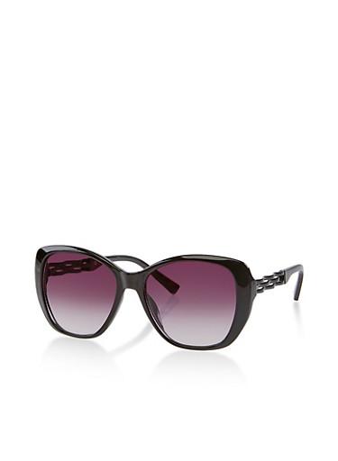 Plastic Woven Arm Sunglasses,BLACK,large