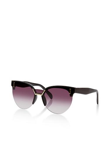 Colored Lens Half Rim Sunglasses,BLACK,large