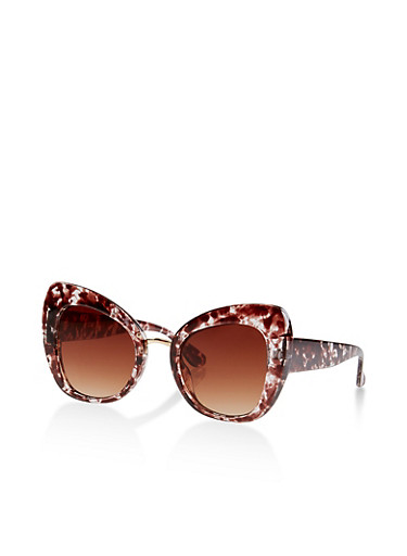Marbled Cat Eye Sunglasses | 1134073215889,BROWN,large