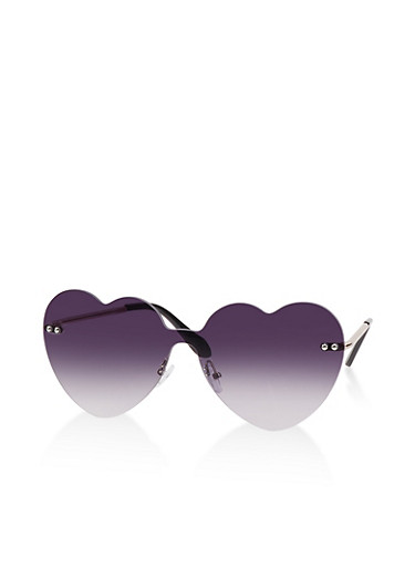 Heart Frame Rimless Sunglasses,GRAY,large
