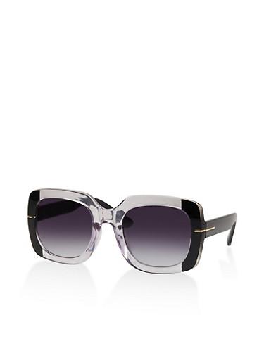 Two Tone Square Sunglasses | 1134073216333,BLACK,large