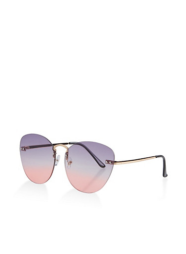 Oversized Rimless Colored Sunglasses,GRAY,large