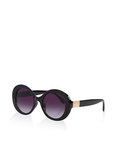 Oversized Oval Sunglasses,BLACK,large