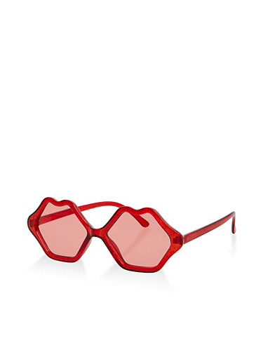 Glitter Lip Frame Sunglasses,RED,large