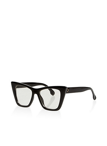 Plastic Cat Eye Glasses,BLACK,large