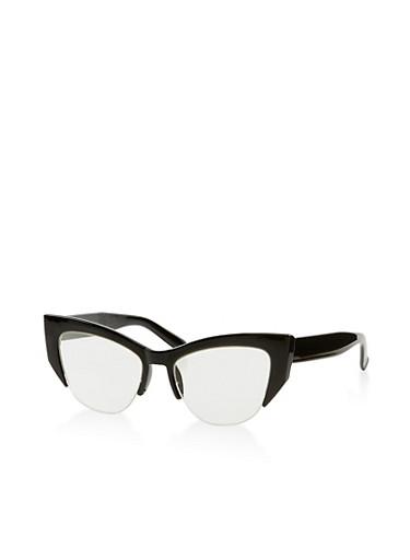 Half Rim Plastic Glasses,BLACK,large