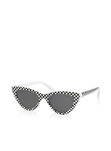 Skinny Checkered Print Sunglasses,BLACK,large