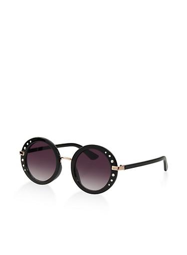 Round Rhinestone Trim Sunglasses,BLACK,large